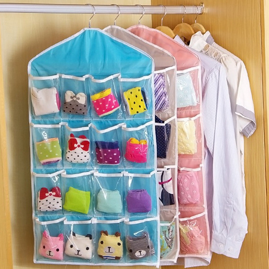 HOT Door Hanging Bag 16 Holes Hanger Storage Organizer Home Sorter Tools Wardrobe Hanging Bags Household Accessory