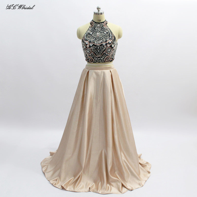 cfa4a544b549 Exquisite Beaded Crystals 2 Piece Prom Dresses High Neck Backless Black  Champagne Satin Long Evening Gowns