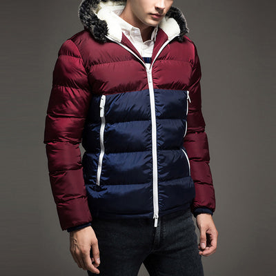 2c831e0c7bd HEE GRAND Men Hoody Spliced Winter Coats Male Hooded Jackets Teenager Slim  Fit Padded Windbreaker Parka