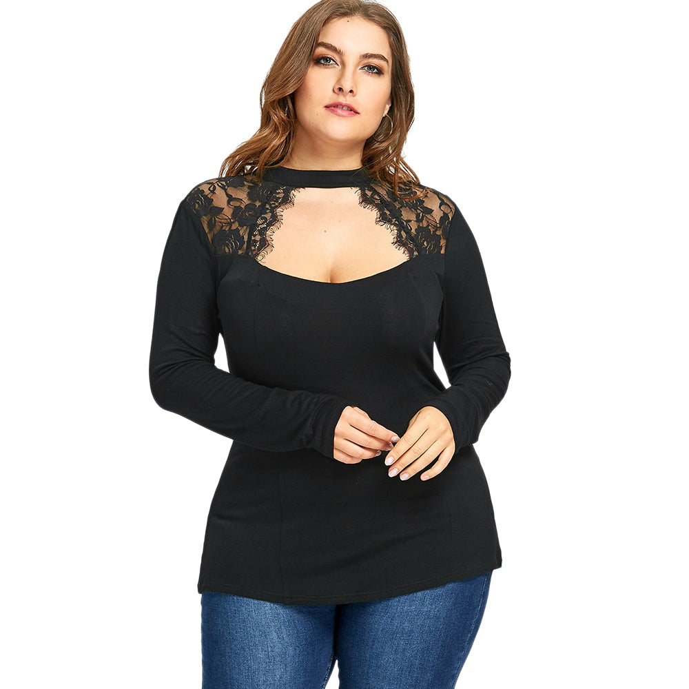 3fd02f56fe4 AZULINA Blouse Shirt Plus Size Women Clothing Lace Insert Keyhole Top  Gothic Black Red Long Sleeves