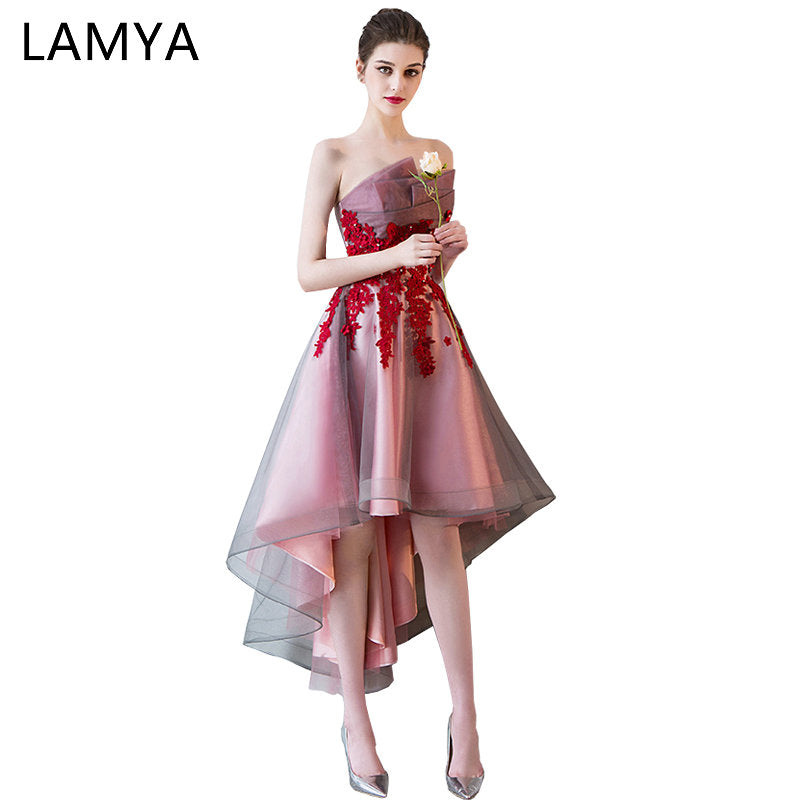 a570c05529fc LAMYA Short Front Back Long Tail Prom Dresses Women Banquet High Low  Evening Party Dress 2018