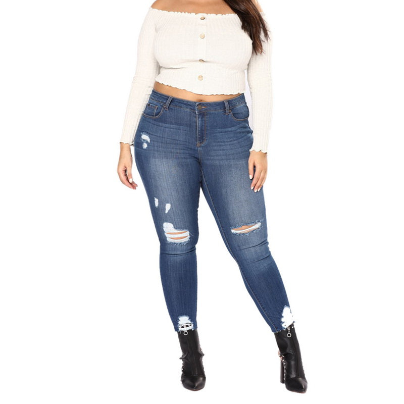 9edab9779 CALOFE High Waist Jeans 2018 Female Hollow Out Denim Pants Stretch Women  Ripped Skinny Denim Jeans