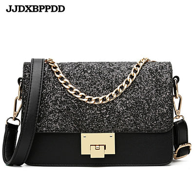 JJDXBPPDD Women Sequined Messenger Bag Quality Leather Women's Flap Bag Chain Strap Female Shoulder Bag Lay Crossbody Bags