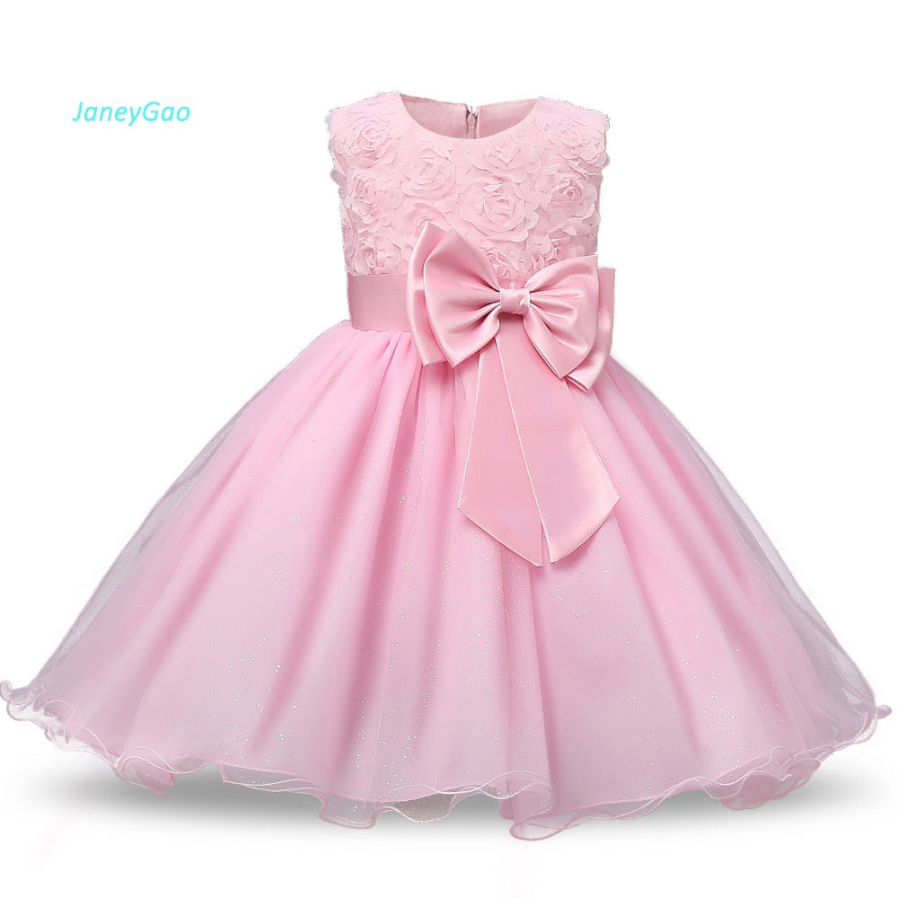 d63951a85b37d JaneyGao Flower Girl Dresses For Wedding Party Formal Gown For Little Baby  Girl Withe Appliques Cute Bow 2018 Summer New Style