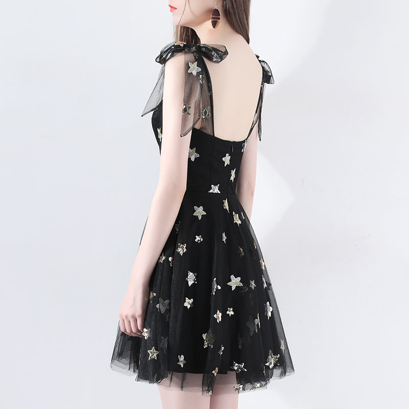 d6ed06241c SSYFashion New Sexy Black Cocktail Dress Short Sleeveless Embroidery Stars Simple  Dress Banquet Party Formal Gown