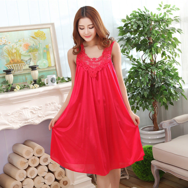 Big size women nightgowns short-sleeved long silk sleepwear dress summer casual sleepshirts nightgown female nightdress Q956