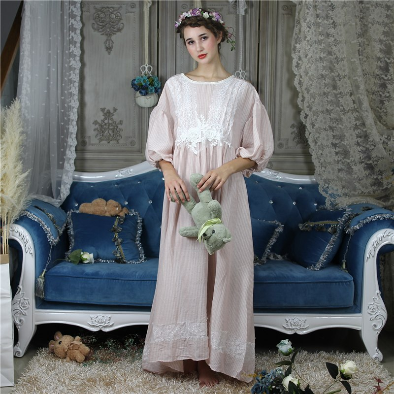 Elegant Solid Nightwear Women Victorian Nightgown Bishop Sleeve Sleepwear Lace Patchwork Ruffled Hem Night Dress Plus Size H700