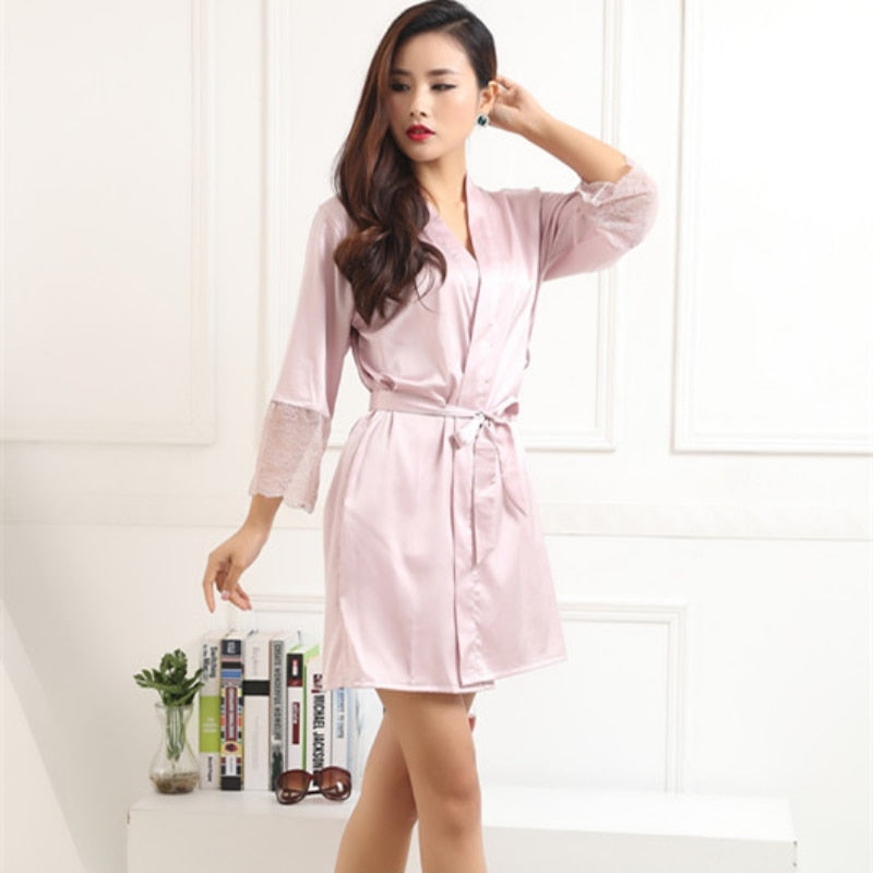 New Autumn 2016 Women Silk Satin Robes Sexy Kimono Nightwear Sleepwear Pajama Bath Robe Nightgown With Belt B3