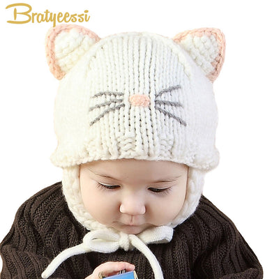 62a6aceb32d New 2018 Knit Baby Bonnet with Ears Cartoon Handmade Winter Infant Baby Hats  Pink White