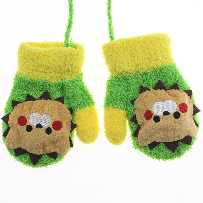1 Pair Candy Cute Cartoon Thicken Warm Fleece Infant Baby Boys Girls Winter Gloves Newborn Mittens Kids Car