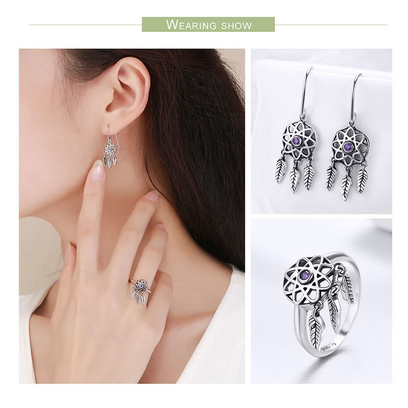 BISAER PRE-ORDER 925 Sterling Silver Jewelry Sets Dream Catcher Vintage Feathers Earrings for Women Wedding Silver 925 Jewelry