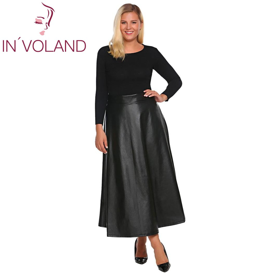 9f7a090b8999b IN'VOLAND Women Leather Skirt Maxi Plus Size 5XL Autumn Winter High Waist  Flared A-Line Party Long Skirt Jupe Skater Oversized