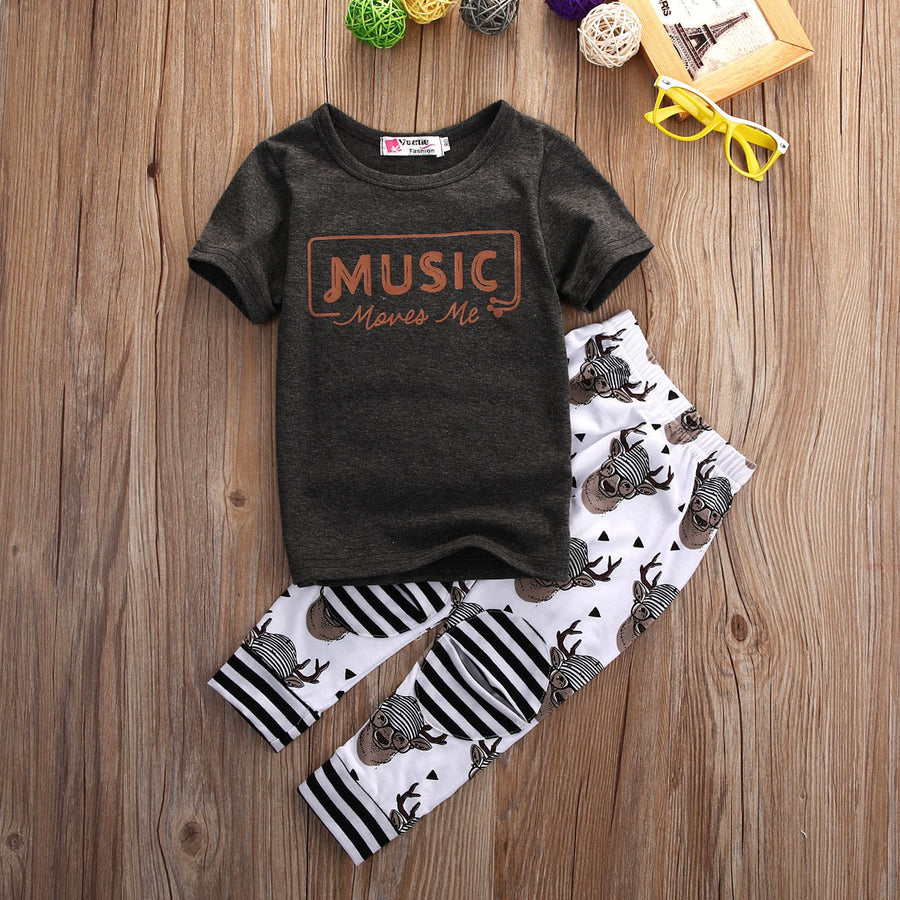 2017 Brand New Baby Boys Girls Kids Short Sleeve T Shirt Tops Long Pants Deer Trousers Rompers 2Pcs Outfit Set Clothes 1-6T