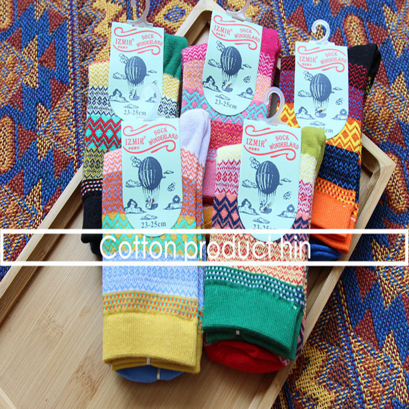 Fashion Unisex Mens Womens Colorful Striped Casual Dress Socks Winter Cotton Retro national wind in tube socks