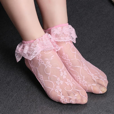 1Pair Fashion Women Transparent Princess Lace Short Loose Elastic Ultrathin Hollow Socks Cute Casual Spring Summer  dailytechstudios- upcube