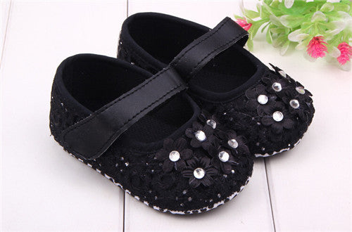 2015 Fashion Lovely Flowers Baby Shoes First Walkers Infants Girls Soft Sole Shoes Toddlers Princess Shoes