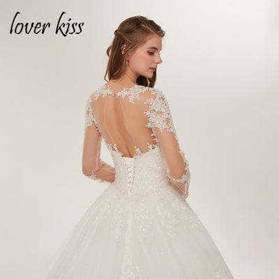 Lover Kiss Bride Dress Lace Luxury Sheer Tulle Long Sleeve Wedding Dress  2018 Beaded Mariage robe 19b06f4a0423