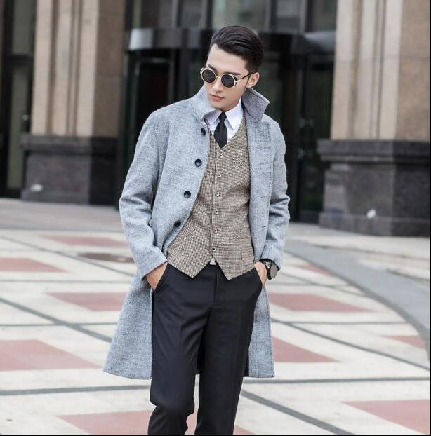 250f626d4a2 Black grey casual long sleeve wool coat men jackets and coats mens slim wool  overcoats winter