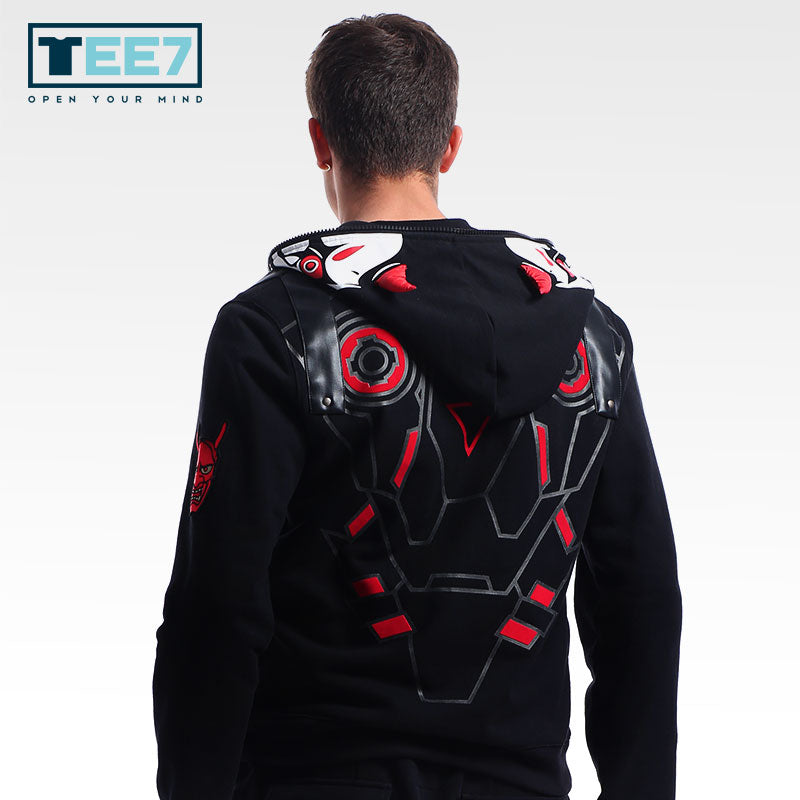 TEE7 Game OW 100% Cotton Hoodies Evil Ghost Genji Sweatshirts Mens Casual clothes Cosplay Costume