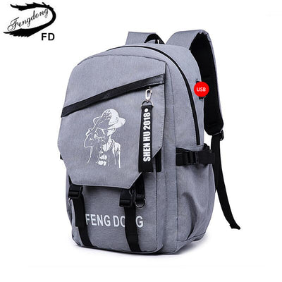 2a451e97fcdd FengDong high school backpacks for boys male student laptop bag 15.6 grey  cartoon backpack anti theft