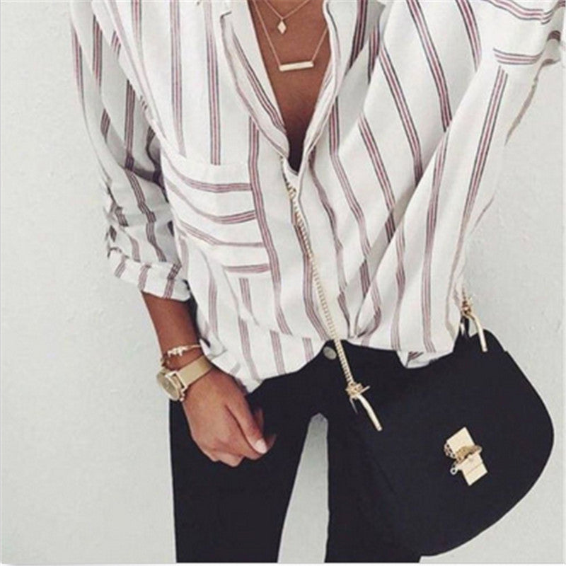6da7d357 2017 New Striped Blouse Women Blusas Loose Slim Fit Long Sleeve Women's  Shirts Fashion Top All