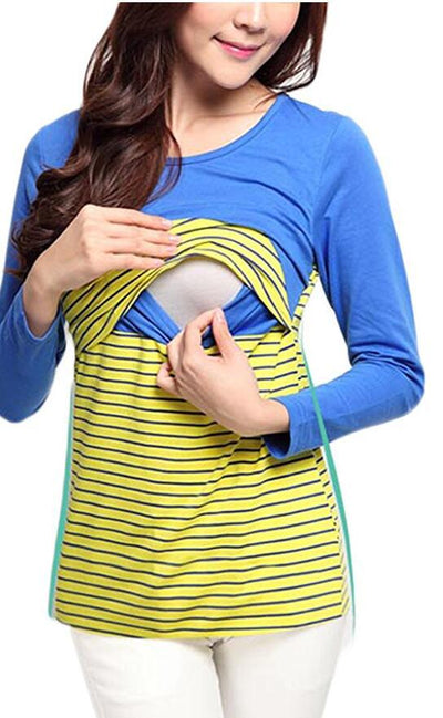 0a169c540be9e Plus Size Pregnancy Nursing Maternity Clothes Breastfeeding Tops Striped T-shirt  Breastfeeding Colthes for Pregnant