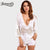 Benuynffy Women's Sexy Deep V Neck Beach Cover Up 2018 Spring New Ladies Elegant 3/4 Sleeve White Lace Blouse Shirt Women Tops