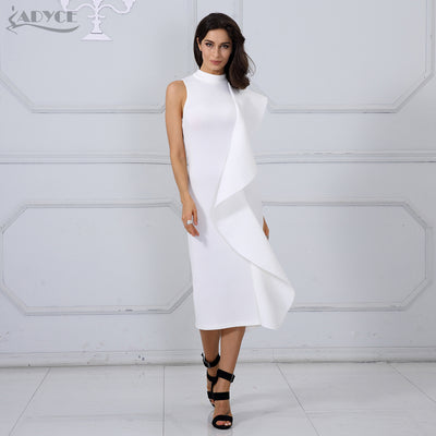 f96921d6b19 Adyce 2018 New Style Summer Women Dress Sexy White Sleeveless Patchwork  Ruffles Bodycon Vestidos Celebrity Party