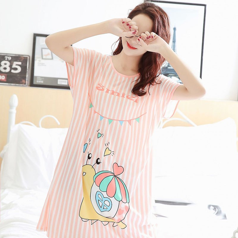 2018 Summer Women Cute Cartoon Nightgown Loose Short Sleeve Sleepshirt Cartoon Sleepwear Nightwear Sleeping Shirt Dress