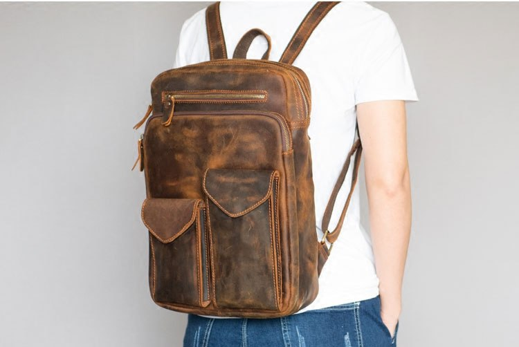 Genuine Crazy Horse Oil leather Moto Biker backpack men vintage mochila backpack travel bag school mochila hombre moda