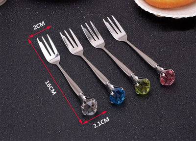 1pcs Rhinestone Diamond Tableware Fork Stainless Steel Dinnerware Accessories For Dessert Cake Cooking Salad Tool  dailytechstudios- upcube