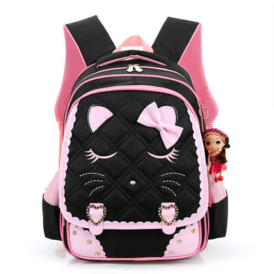 Cute Cartoon Cat Girls School Bags Princess Pink Nylon Children Backpacks  For Primary School Students Schoolbag f92eea0f47929