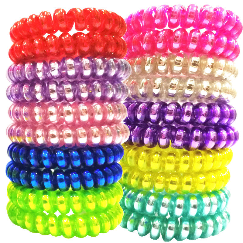 5 Pcs/lot Soild Color Elastic TPU Telephone Wire Hair Bands colorful Women Fashion Hair Accessories Girls' Headwear