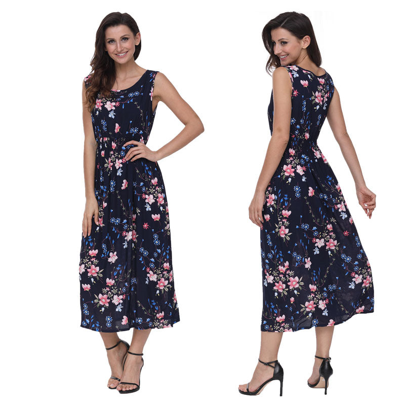 71813e6ea3e Susi amp Rita Elegant Long Beach Dress Women Summer Floral Bohemian Dresses  2018 Casual Sleeveless Cotton