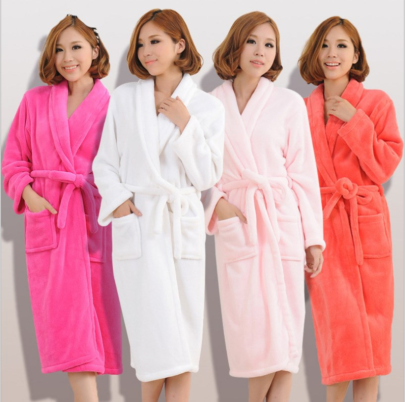 New Flannel Women Men Solid Loose Sleepwear Bath Robe New Chic Warm Shower Spa Thick Bathrobe Sleep Nightgown Robe Dressing Gown