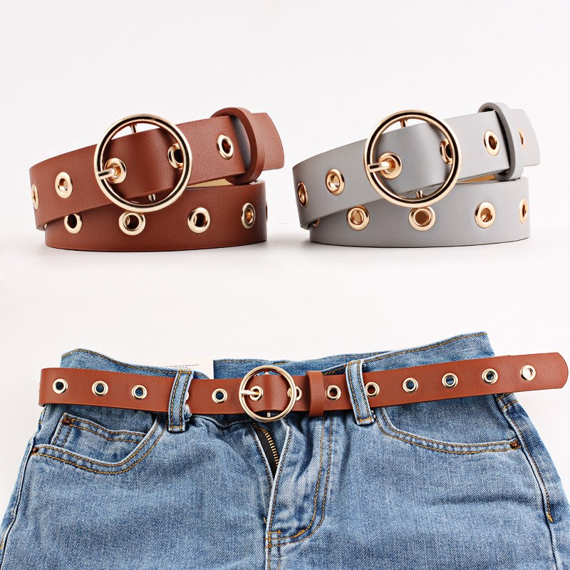 9 color  Personality round Brass buckles Wide belt for women 2018 New female Rivets for leather belt Jeans for Women's N123