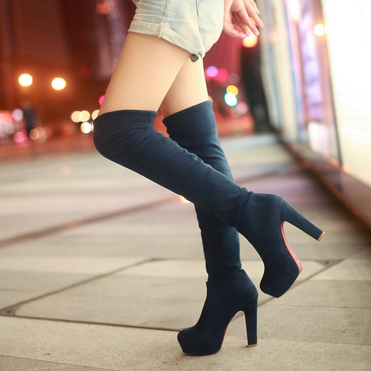 Fashionable new sexy long tube female boots, stretch abrasive ultra high heel leopard print over knee boots