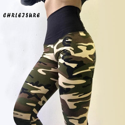 18acb4a1b8911 CHRLEISURE High Waist Leggings Women Casual Polyester Camouflage Print Pants  Adventure Time Fold Work Out Push