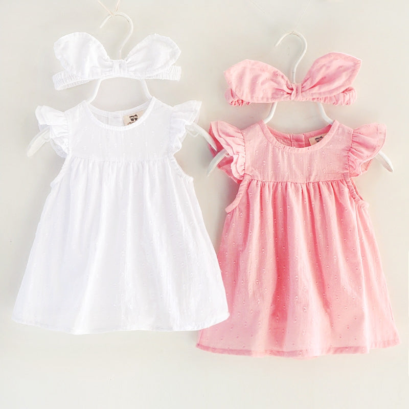 8b2beaaa414ce new baby girl dress Bebes with romper 1 year birthday headband pink party  tutu toddler kids