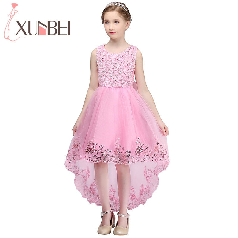 de29492b89 Lovely Pink Lace Flower Girl Dresses Sequin Tulle Communion Dresses Ball  Gown Kids Pageant Dresses For
