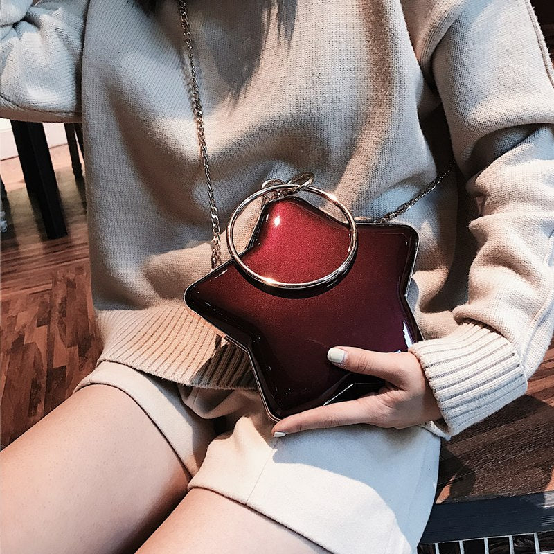 Star Shape Patent Leather Ring Handbag Female Handbag Evening Bag Fashion Mini Shoulder Bag Women's Crossbody Messenger Bag sac