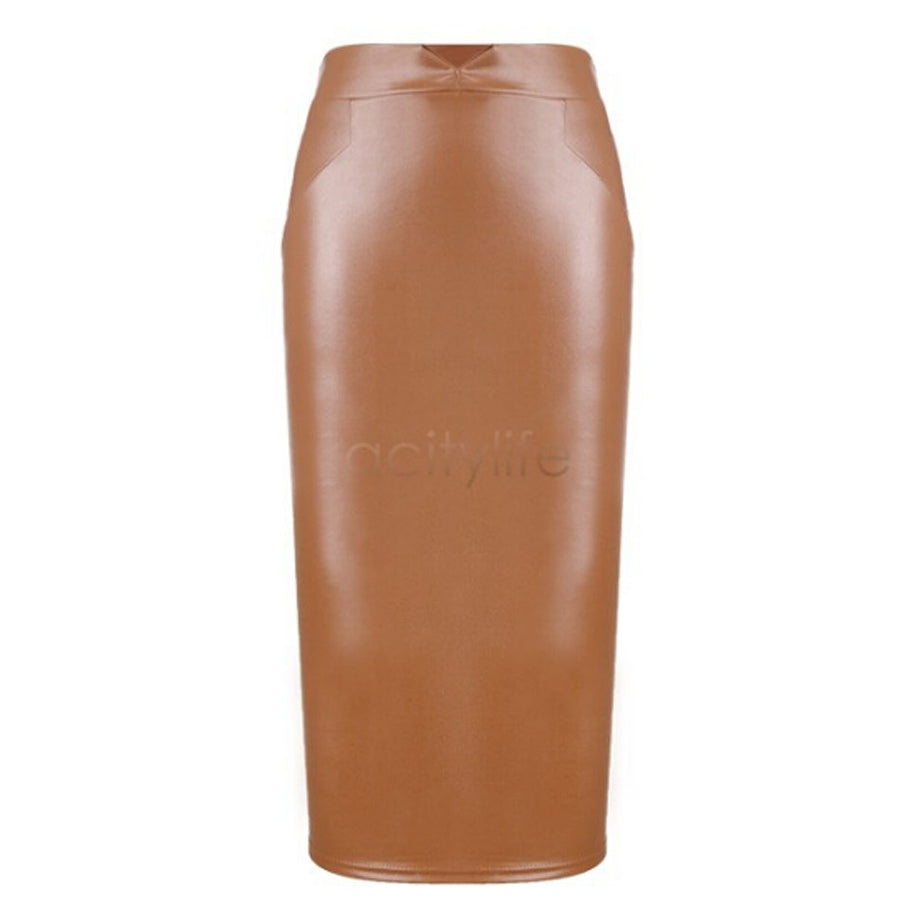 Fashion Women Pu Faux Leather Skirt High Waist Bodycon Tight Stretch Female Pencil Midi Skirts Straight Womens Saias Femininas