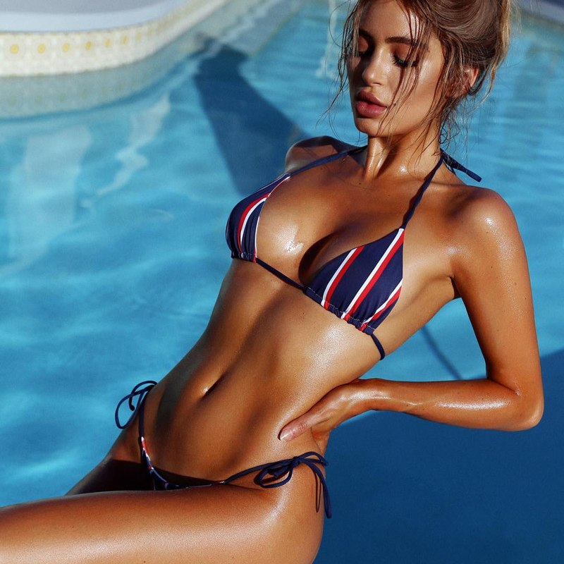 Push Up Stripe Color Bikini Swimsuit Swimwear Women Bikini Set Halter Brazilian Push Up Bikini 2018 Female Bandeau Bathing Suit