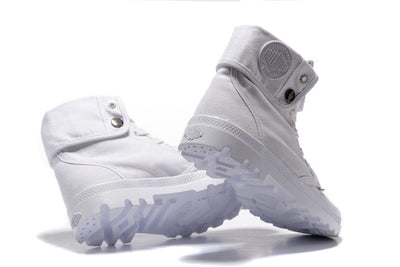 d63b1fe2378 PALLADIUM Pallabrouse All White Men High-top Military Ankle Boots Canvas  Casual Shoes Men Casual