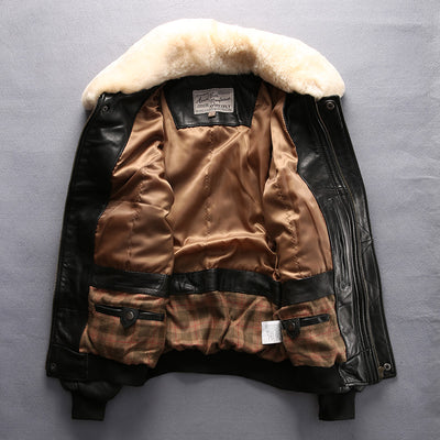 3343604a7f5 Avirex fly air force flight jacket fur collar genuine leather jacket men  winter dark brown sheepskin