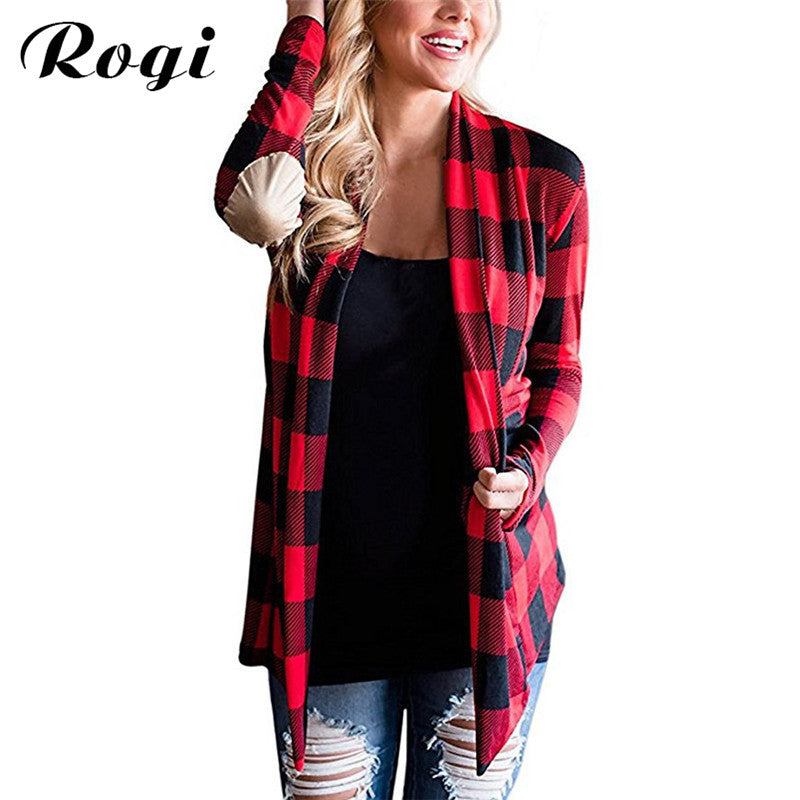Rogi Women Knitted Cardigan 2017 Irregular Geometric Printed Ladies Sweater Open Front Loose Jumper Outwear Coat Poncho Top 2XL