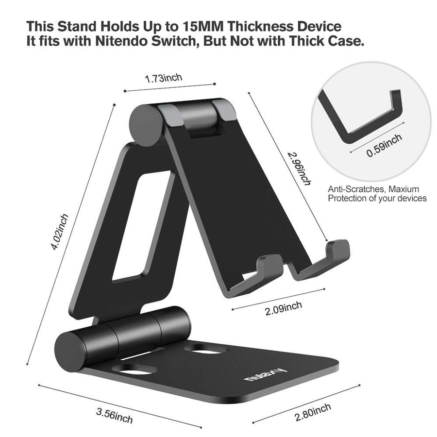 Nulaxy Phone Stand for iPhone X 8 Portable Aluminum Alloy Adjustable Desktop Holder Dock for iPad Switch Tablet Stand