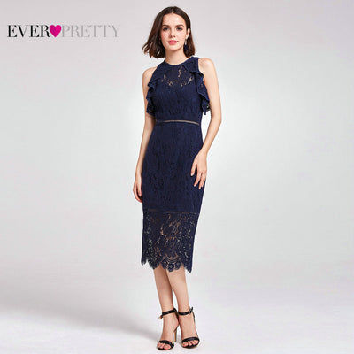 2018 New Women Sexy Lace Evening Dresses O-Neck A-Line Hollow Out Short 69f000661ba9