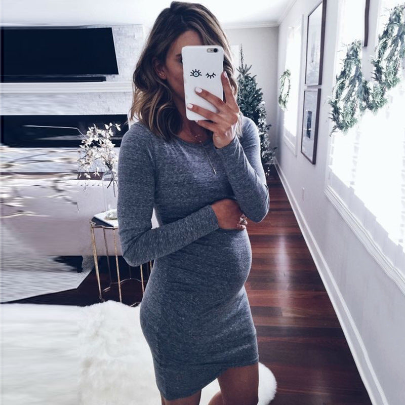 7d5dcc6ce4c Maternity Dress Long Sleeve Woman Clothes Pregnant Casual Dresses Women  Fashion Match Winter Spring Hamile Giyim