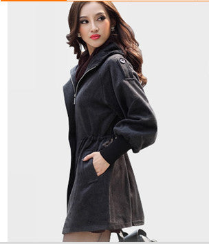 Fall 2018 Winter Cashmere Cotton Coat Women Outwear Fashion Hooded Design High Street Casual Trench Coat Big Plus Size 6XL K24